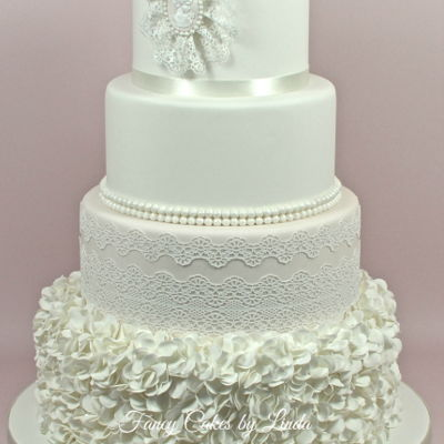 Camila - Ruffles, Pearls & Lace Wedding Cake on Cake Central