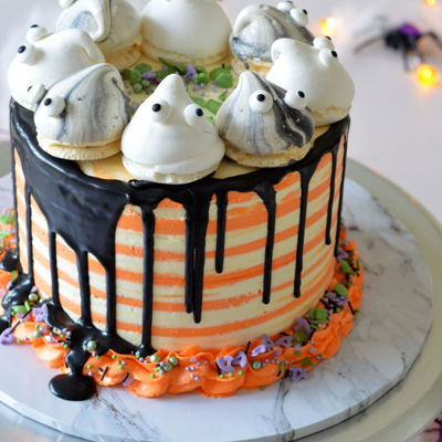 Halloween Drip Cake Stripes And Ghost on Cake Central