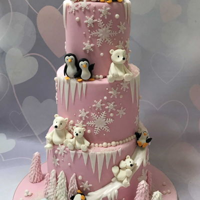 Polar Bears And Penguins Cake