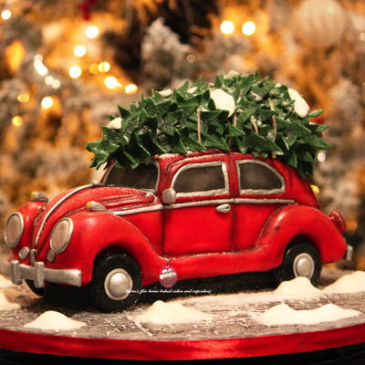 Volkswagen Beetle Christmas Cake on Cake Central
