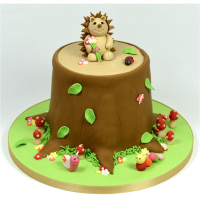 Woodland Hedgehog Tree Stump Celebration Cake on Cake Central
