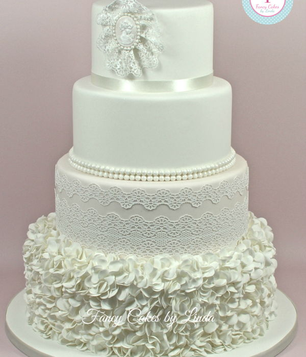Camila - Ruffles, Pearls & Lace Wedding Cake
