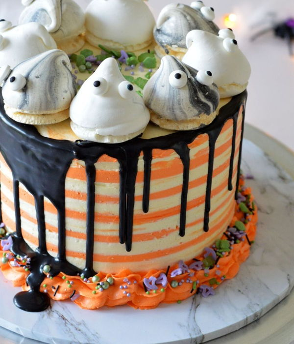 Halloween Drip Cake Stripes And Ghost