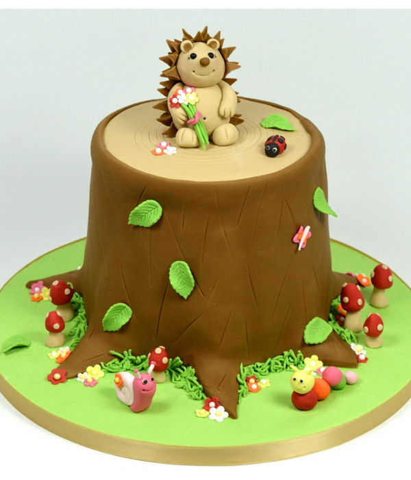 Woodland Hedgehog Tree Stump Celebration Cake