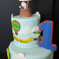 1St Birthday - Balloon Ride 4 inch dummy cake, 8 inch chocolate cake with strawberry. fondant covered.