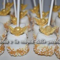 Angels Decorated Marshmallow marshmallows decorated with white chocolate and white and gold micro-pearls, with sugar paste angel