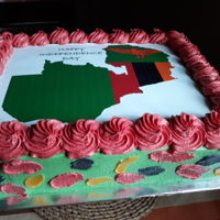 Anniversary Cake celebrating the independence of our lovely country, Zambia. Orange red green and black are the colors of our flag
