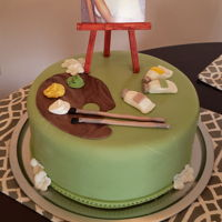 Artist 60Th Bday 10 inch 2 layer with fondant and fondont paint tubes and brushes