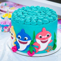 Baby Shark Cake Banana cream cake with peanut butter frosting