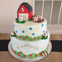 Barn Yard Cake Little boy's first birthday. All the extras are marshmallow fondant.