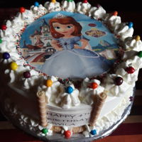Birthday Cake Sofia the first themed cake. All vanilla