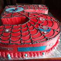 Birthday Cake Spiderman themed number 5 cake