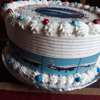 Birthday Cake Vanilla sponge cake cake with image of a plane for a boy who wants to be a pilot
