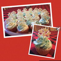 Cupcakes W White Chocolate Glitter Snowflakes Strawberry Cupcakes with cream cheese buttercream. White chocolate glitter and pearl snowflake toppers.