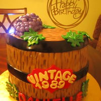 Danielle's 30Th Wine Barrel Wine themed cake