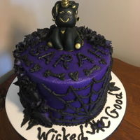 Gothic Unicorn Birthday Cake 6 inch double layer. Gothic unicorn from fondant. All peanut butter flavored buttercream.