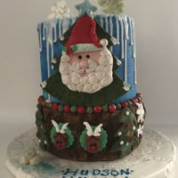 "Happy Birthday Hudson Grandson's birthday cake. All Hudson asked for was a ""Christmasy"" cake with Santa Claus on it. His birthday..."