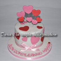 "Hearts Cake ... small and simple simple ... just to say to your mom ... ""Happy birthday!"""