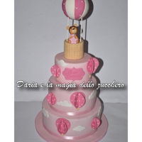 Hot Air Balloon Baptism Cake a tender cake with hot air balloons and teddy bear for the baptism of little Constance!