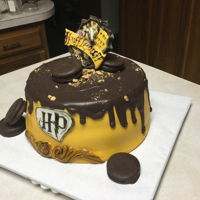 House Of Hufflepuff- Harry Potter Chocolate cake w/raspberry filling. Fondant covered.