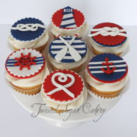 "Nautical Cupcakes Made for a bridal shower with a ""tying the knot"" theme."