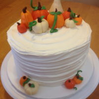 Rikki Loves Pumpkins Birthday Cake Vanilla cake, vanilla buttercream. Candy clay pumpkins.