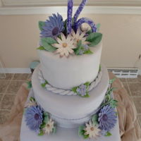 Sweet 16 Cake A tiered sweet sixteen cake in shades of purple.