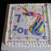 Unicorn Birthday Cake 12x12 funfetti Cake for my Grandaughter. Fondant Unicorn Face and buttercream frosting.