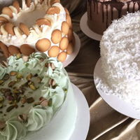 Variety Pistachio, coconut, banana pudding and chocolate cakes