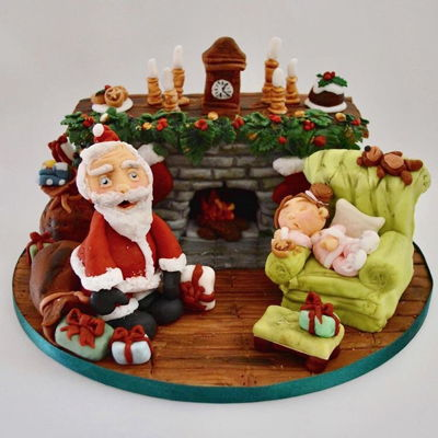 Christmas Fireplace Cake