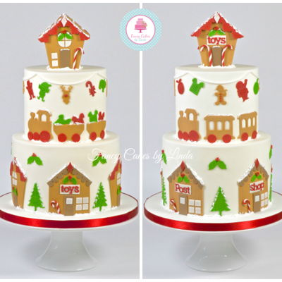 Gingerbread Inspired Fondant Christmas Cake on Cake Central