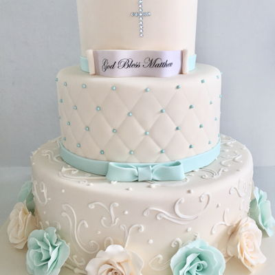 Simple Elegant Baptism Cake