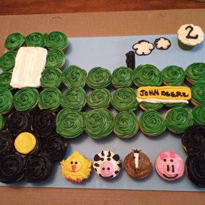 Tractor And Farm Animal Cupcake Cake