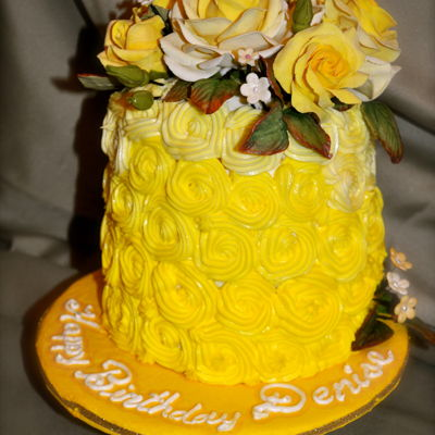 Yellow Rosettes And Roses