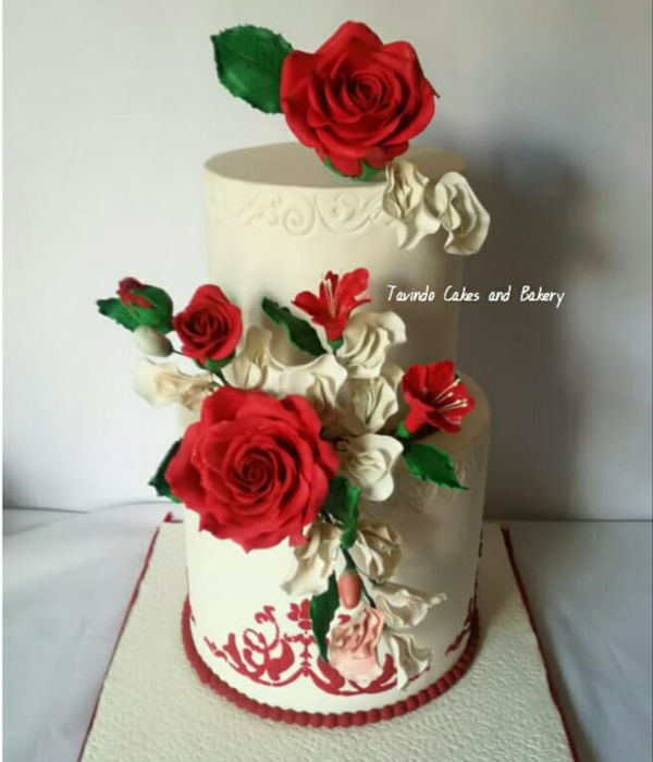 Classy Elegant Red And White Wedding Cake
