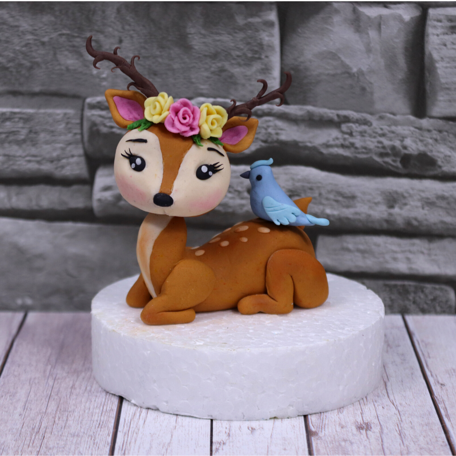 Cute Deer Cake Topper With A Little Bird On Top on Cake Central