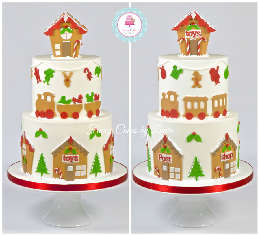 Gingerbread Inspired Fondant Christmas Cake