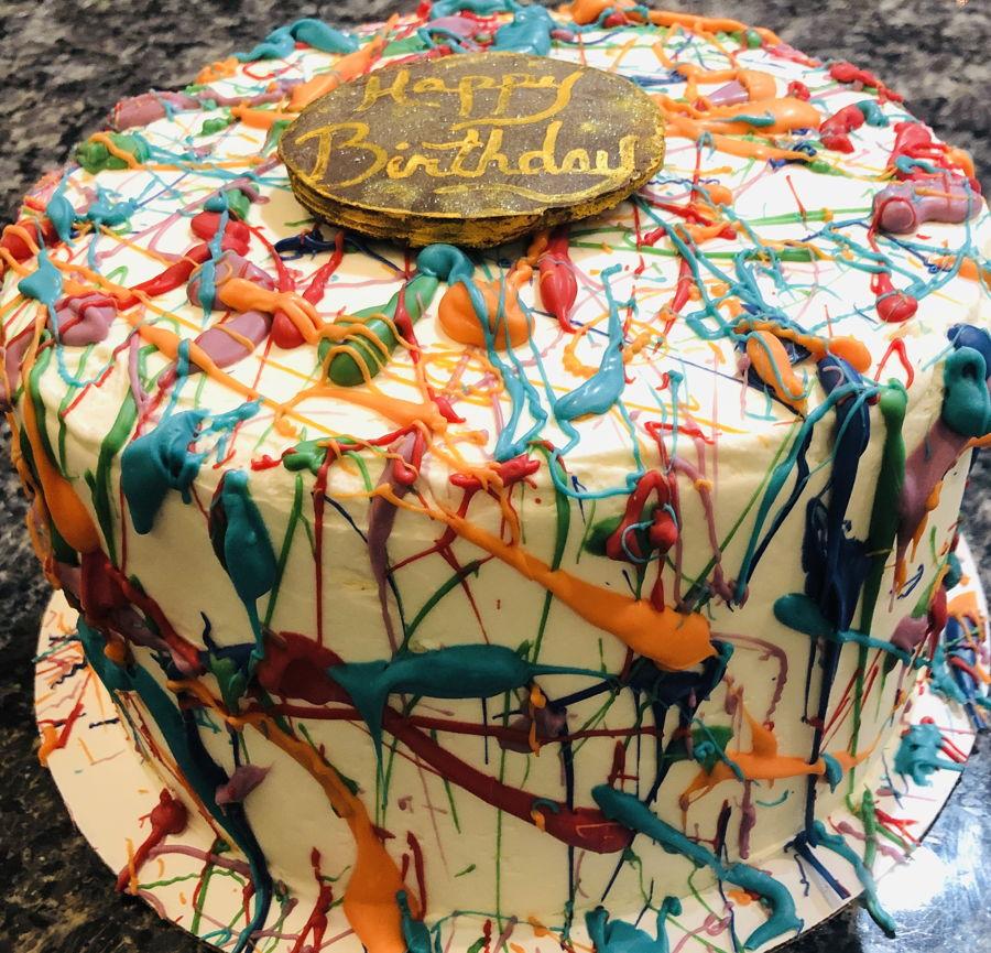Surprising Paint Splatter Birthday Cake Cakecentral Com Personalised Birthday Cards Sponlily Jamesorg