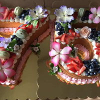 75Th Birthday Number cake with fresh fruit, macaroons and gumpaste flowers