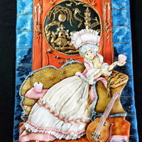 "Marie Antoinette - The Royal - An International Cake Challenge ""MARIE ANTOINETTE"" My Piece: My Cookie represents a moment of Maria Antoinette in her living room enjoying the Cupcakes prepared..."