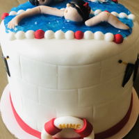 Swim Cake Chocolate chocolate cake, fondant decorations.