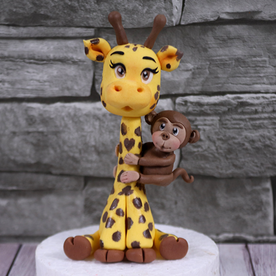 Cute Giraffe Cake Topper With A Little Monkey on Cake Central