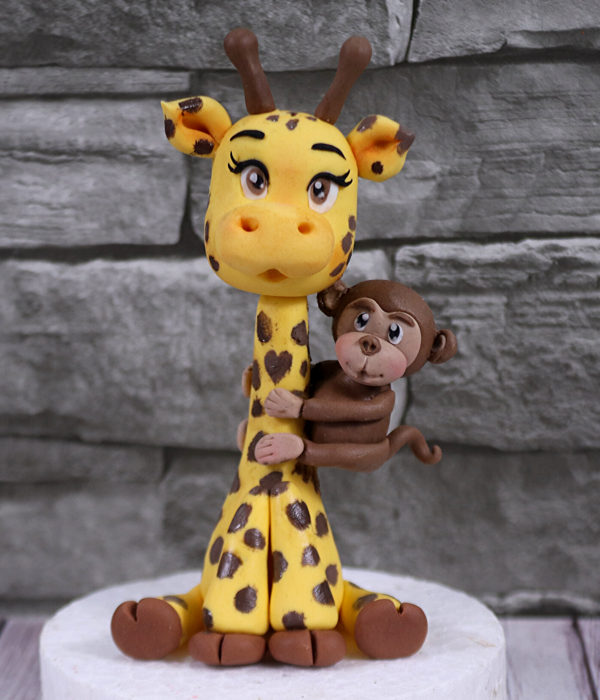 Cute Giraffe Cake Topper With A Little Monkey