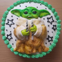 Baby Yoda Cake First cake I've made at home and I'm pretty gursh darn proud of it ☺ Red Velvet with cream cheese frosting and fondant...