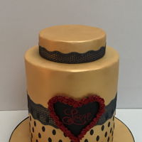 Be My Valentine Madeira cake covered in edible gold