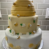 Bumblebee Baby Shower Cake Fondant covered cake with fondant decorations