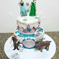 Frozen 2 tier chocolate cake covered in fondant