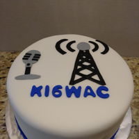 Ham Radio Birthday Cake Chocolate cake with fondant.