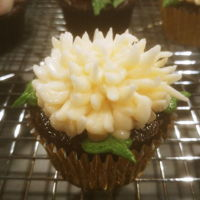 Korean Buttercream Cupcakes Chocolate cupcakes, brushed with framboise simple syrup, and decorated with a Korean buttercream chrysanthemum.