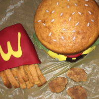 Mc Donald Cake Vanilla and chocolate cake fondant tomatoes and cheese and wafer paper lettuce